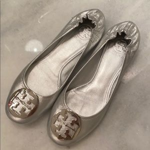 Tory Burch Silver Flats. Size 9, but fit like 8.5